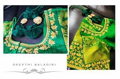 Lotuses all over.Handwork design inspired from the sweet and charming lotus flower on an all-Green blouse depicting the color of nature. 01 May 2018 Hand Art, Simple Words, Green Blouse, Work Blouse, Silk Sarees, Blouse Designs, Hand Embroidery, Clothes For Women, Lotus Flower