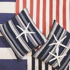 Sea stars and Dash & Albert stripes in the Santa Barbara store on Memorial day.