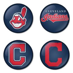 "Cleveland Indians MLB 1.75"" Badges Pinbacks, Mirror, Magnet, Bottle Opener Keychain http://www.amazon.com/gp/product/B00K451QXG"