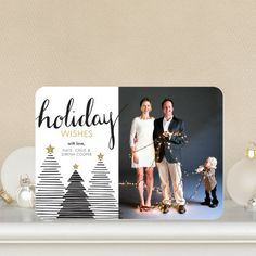Tree Stripes - #Holiday Photo Cards in black