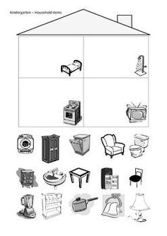 Cut and paste the household items in to the correct rooms of the house. English Activities, Preschool Learning Activities, Preschool Worksheets, Teaching English, Learn English, Cut And Paste Worksheets, English Lessons For Kids, School Clipart, Printable Numbers