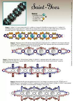FREE Bracelet Pattern SAINT-YVES. Use: seed beads 11/0 and 6/0, round beads 4mm…