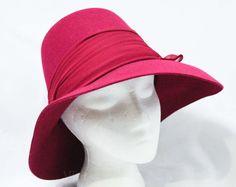 Raspberry Felt Hat  Picture Style  Flexible Brim  by vintagevixen