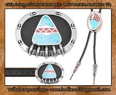 Turquoise And Coral Chip Inlay Bear   Paw Leather Belt And Belt Buckle - Bear Paw Chip Inlay Turquoise And Coral Bolo Tie -Review the collection off of: http://www.indianvillagemall.com/jewelry/bearclaw.html