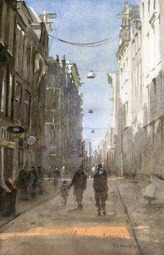 Titus Meeuws impressionist - Warmoesstraat Amsterdam. Watercolour. 50 x 30 cm
