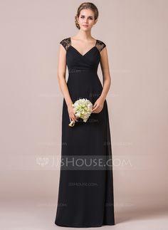 [R$ 439.59] Império Decote V Longos Tecido de seda Renda Vestido de madrinha com Pregueado (007056819)
