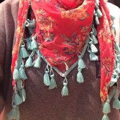 AEO floral scarf has mintish-blue tassels, in great condition American Eagle Outfitters Accessories Scarves & Wraps