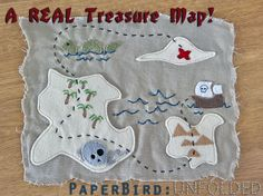 Felt and embroidery treasure map! Crafts you can make for boys! Pattern+ tutorial