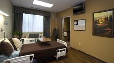 Integra Hospital Plano private room, nice brown bed cover and pillows. / Private hospital rooms like 5 star hotels / Sarah Williams on Fuseink