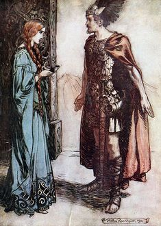 "Siegfried hands the drinking-horn back to Gutrune, and gazes at her with sudden passion (1911), lithograph by Arthur Rackham (1867-1939) [published in ""Siegfried & The Twilight of the Gods"", facing page 120], from Act 1, Scene 2, of ""Götterdämmerung"" (1874), by Richard Wagner (1813-1883)."