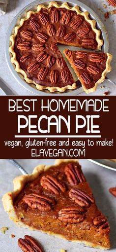 The best homemade vegan pecan pie made from scratch! Its moist, flavorful, gooey, and very delicious. The pie is pl Best Pecan Pie Recipe, Homemade Pecan Pie, Vegan Pecan Pie, Pecan Pie Filling, Homemade Pie Crusts, Pecan Bars, Sin Gluten, Pecan Pie Cookies, Fudge Brownies