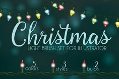 Add some sparkle and shine to the holidays with this huge collection of Christmas light brushes for Illustrator. Adding Holiday string lights to your designs has never been easier with the set of 43 pattern and scatter brushes for Adobe Illustrator. All of these brushes are 100% vector with no raster or bitmap effects. Simply load the brushes up through the brush library and start drawing out your own Christmas lights.