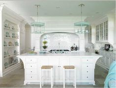Love this kitchen.  Love the plate wall and the light fixtures and everything!