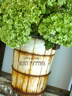 ChiPPy! - SHaBBy!   RE-PURPOSED Ice Cream Bucket with Fall Hydrangeas