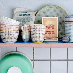 Tasses � caf� en porcelaine (par 6) Pattern Bloomingville