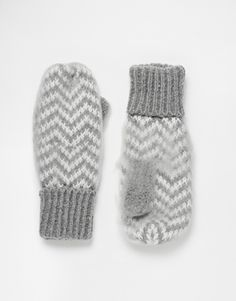 Buy ASOS Mittens In Ultra Fluffy Grey Chevron at ASOS. Get the latest trends with ASOS now. Chevron Gris, Chevrons, Mitten Gloves, Mittens, Asos, Bracelets Design, Grey Gloves, Hosiery, Women's Accessories