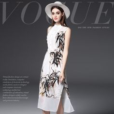 Brand Women's Silk Dress Europe Summer slim elegant sleeveless dress ladies fashion classical  ink bamboo print silk dress