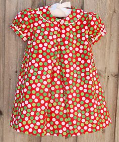 Peter Pan Collar Dress in Red, Green & White from Smocked Auctions