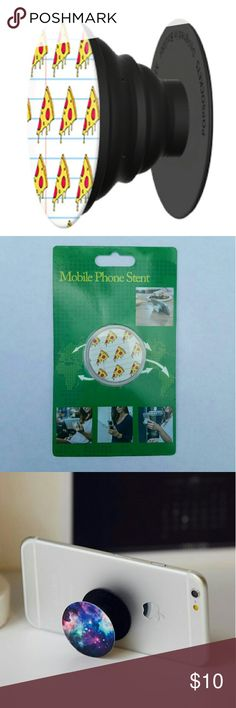 Mobile phone grip/stand pizza *this is an individual listing for 1 phone stand, color is according to second picture*  Pop, tilt, wrap, grip, collapse, repeat! Mobile phone stent like a pop socket (popsocket). Have a secure grip while calling, taking selfies, and texting. Use as a phone stand, portrait and landscape mode. and even to wrap your headphones around and prevent tangles and knots!!   BUNDLE AND SAVE! Accessories