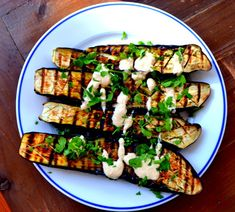 Pink Brandywine — Grilled Japanese Eggplant with Lemon Tahini. Grilled Eggplant, Eggplant Parmesan, Lemon Recipes, Veggie Recipes, Vegetarian Recipes, Healthy Recipes, Herb Recipes, Summer Recipes, Bon Appetit