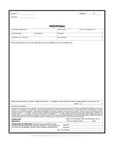 Free Proposal Forms Captivating Construction Proposal Form  Bid Form  Estimate Form Style #6 .
