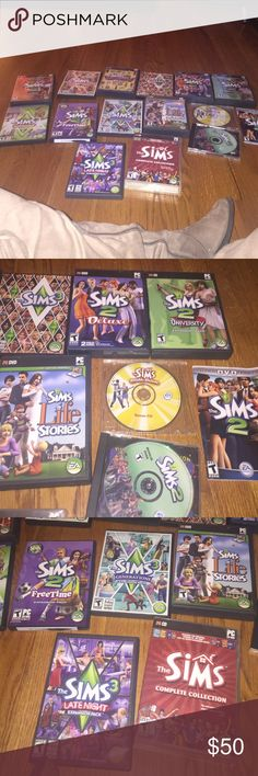 The sims complete computer set!!!!! Some are brand new some are used all like new condition. Includes all you see, the sims double deluxe, bonus disk, university, deluxe, sims 3, glamour life,generation, life stories, complete collection, late night, free time, town life, world adventures, open for business. Will include free zoo tycoon computer games. Price firm Accessories