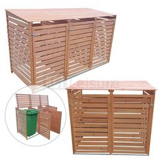OUTDOOR WHEELIE BIN STORAGE DOUBLE AND TRIPLE SHED WOODEN DUSTBIN RUBBISH SCREEN Garbage Can Storage, Garbage Shed, Storage Bins, Storage Containers, Bin Shed, Bin Store, Garden Gazebo, Shed Homes, Trash Bins
