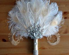 Bridal alternative Ostrich Feather Fan Bridal by BlueSkyHorizons