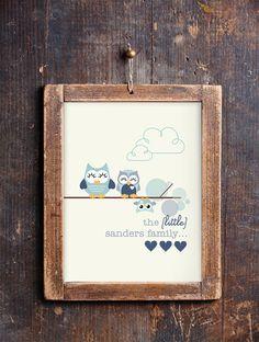 Cute Owl Family Print for a Baby Boy's Nursery by SunshinePrintsCo