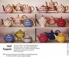 1956 ad for gold decorated Hall Teapots.     Top: French, Boston, New York, Baltimore, Philadelphia, Boston Middle: French, Aladdin, Hook Cover, Los Angeles, New York, Windshield Bottom: Hook Cover, Hollywood, Boston, Windshield, Aladdin, Parade  Courtesy: Fran and Carl Stone