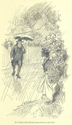 Jane Austen Mansfield Park - Le Dr Grant lui-même est sorti avec un parapluie Jane Austen Mansfield Park, Victorian Illustration, Illustration Art, Illustrations, How To Be Likeable, Classic Literature, Ink Pen Drawings, British Library, Art Sketches