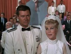 "Larry Hagman as ""Major Nelson"" and Barbara Eden as ""Jeannie"" in the old TV show, ""I Dream of Jeannie""."