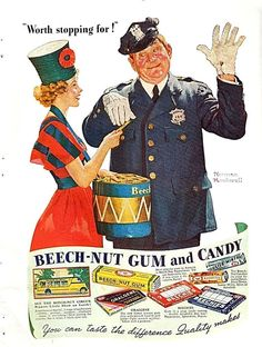 Have this in my kitchen! I love all the old Norman Rockwell ads. Beech-nut Gum ad by Norman Rockwell, 1937 Norman Rockwell Prints, Norman Rockwell Paintings, The Saturdays, Munier, Vintage Candy, Vintage Food, Old Advertisements, Print Ads, American Artists
