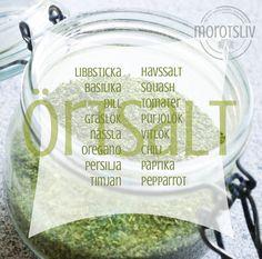 Gör ett eget örtsalt • Morotsliv Raw Food Recipes, Healthy Recipes, Healthy Foods, Anti Inflammatory Recipes, Garden Ideas, Snacks, Nice, Inspiration, Red Peppers