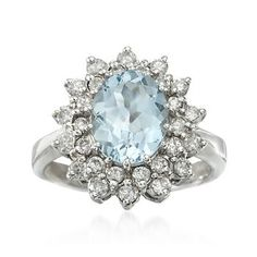 Dear Prince Charming: 2.50 Carat Aquamarine and 1.00 ct. t.w. Diamond Ring in 14kt White Gold. I want it.  love Kelsey
