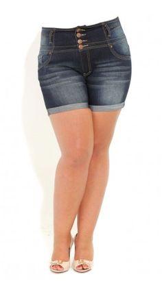 City Chic Hi Button Plus Size Shorts