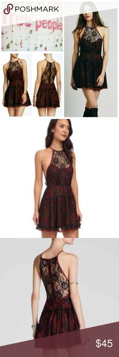 FP Starry Crimson Lace Dress NWT. Gorgeous mini dress. Only tried it on, but my torso is too short. :( High neckline, fitted waistline, partially lined, sheer floral lace overlay with embellished sequins throughout. Feel free to ask questions & make reasonable offers! Free People Dresses Mini