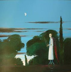 The Moon and the Poet - Stefan Caltia Magic Realism, Realism Art, Art Database, Old Paintings, Poet, Unicorn, Artsy, Journey, Stone