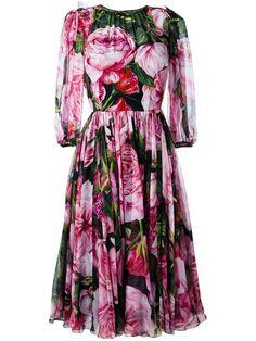 Dolce & Gabbana rose print chiffon dress