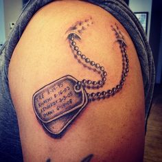 35 Inspirational Dog Tag Tattoo Designs – What Makes Them So Special? Check more at http://tattoo-journal.com/best-dog-tag-tattoo-designs-meaning/