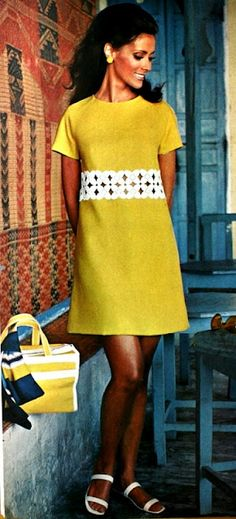 Vogue Pattern Book April-May 1969  A short, simple yellow linen dress  Photo Richard Rutledge