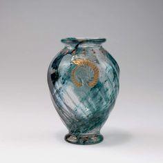 Galle, Emile, Nancy Seltene Intercalaire-Vase 'Geologia', 1889 Ovoider Korpus. H. 16,3 cm. ueberfa
