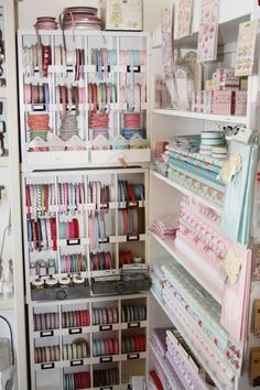 Fabric and ribbon storage that would be suitable for a craft room or sewing room. 24 Amazing Storage Ideas That You Will Freakin Love! - Diy for Home Decor Craft Room Design, Craft Room Decor, Craft Room Storage, Storage Ideas, Corner Storage, Organisation Ideas, Garage Storage, Organizing Ideas, Storage Solutions