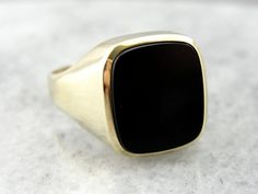 Antique 8K Green Gold Mens Onyx Ring YJCPWX-D by MSJewelers
