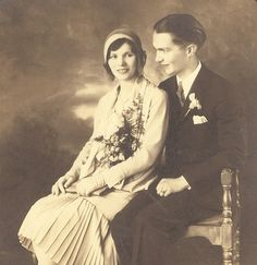 Stunning wedding portrait. He is giving her the most *adoring* look! circa 1920s.