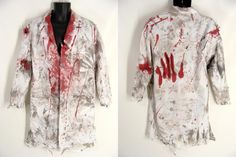 ooak Distressed Bloody White Lab Coat MAD SCIENTIST Surgeon Butcher Zombie Halloween Costume 40R Medium by wardrobetheglobe $64.00