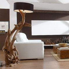 Stehlampe Standlampe RIAZ XL 200 cm Teak-Wurzel Teakholz Wurzelholz Handarbeit