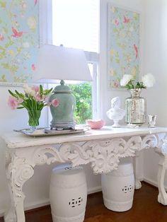 Kristy Wicks | Laura Ashley Summer Palace Duck Egg wallpaper in custom frames