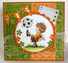 handmade card ... little guy in soccer uniform kicking a ball .. green and orange ... collage style ... gauze, calender, punched flowers, green twine machine stitching ... and more ... Lily of the Valley stamps