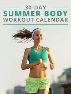 30 Day Summer Body Workout Calendar #workoutprogram #workoutcalendar #fitnessprogram